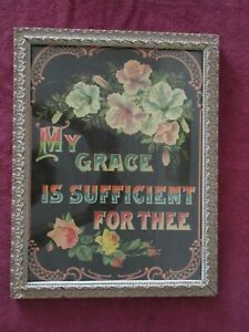 1800s Antique Victorian My Grace Is Sufficient Picture Frame Gesso Ornate Print