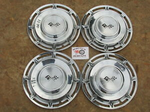 1960 Chevy Impala Nomad 14 Wheel Covers Hubcaps Set Of 4 W Sawtooth Clips