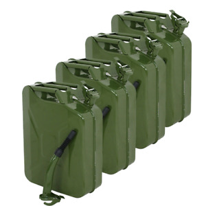 4pcs Jerry Can 5 Gallon Military Style 20l Gas Gasoline Fuel Storage Steel Tank