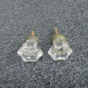 Octagonal Pair 2 Antique Clear Glass Drawer Pulls Knobs Vintage