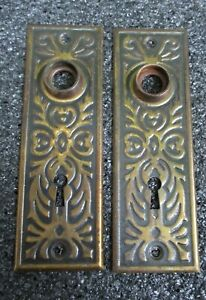 2 Copper Flash Stamped Tin Door Knob Back Plates Escutcheons 1 3 4 X 5 1 2