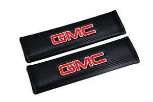 X2 Gmc Black Carbon Look Embroidery Seat Belt Cover Shoulder Pad