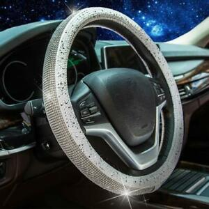 Steering Wheel Cover Sliver Bling Crystal Diamond Rhinestone Universal 15 Inch