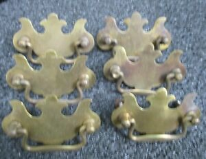 6 Chippendale Style Brass Drawer Pulls Antique Vintage 3 1 4 Wide 2 1 2 On Cntr