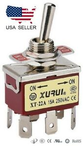 Heavy Duty Dpdt On on Toggle Switch 20a 125v 15a 250v Spade Terminals 22a