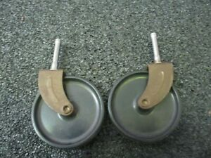 Pair 2 Mid Century Modern Swivel Serving Cart Tea Cart Wheels