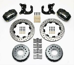 Wilwood Disc Brakes Rear Cross drilled Rotors 4 piston Calipers Ford 8 8 Kit