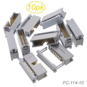10 pack 14 pin Male Idc Flat Ribbon Cable Box Header 2 54mm Pitch Connectors
