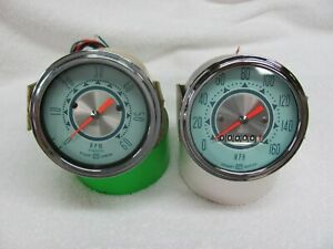 Stewart Warner Twin Blue 160mph Speedo And 6k 12v Tachometer 3 3 8 Mounting