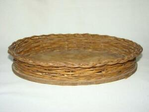 Antique Victorian Shabby Primitive Small Woven Oval Wicker Dresser Tray Basket