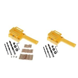 Handheld Woodworking Dowel Jig Guide Wood Drilling Set Straight Hole Locator