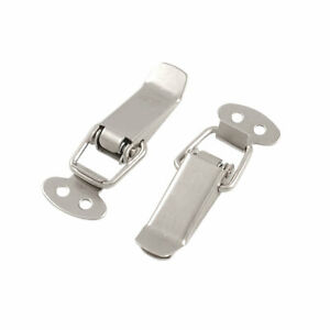 2 7 Long Silver Tone Metal Pull Down Loop Draw Latch 2 Pcs