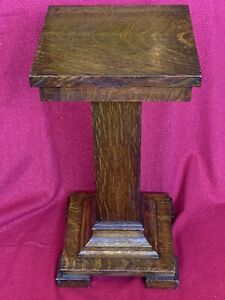 Antique Oak Wood Pedestal Tabouret Telephone Table Smoke Plant Stand Column Exc
