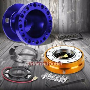 Blue Steering Wheel Hub Adapter gold Quick Release For 92 95 Integra Dc2 civic