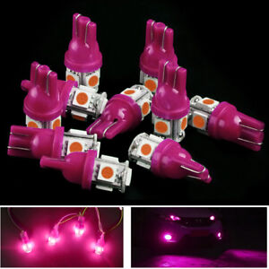 10pcs Pink Led Car Interior Lights Bulbs T10 5 Smd 168 194 Trunk Dome Dash Lamp