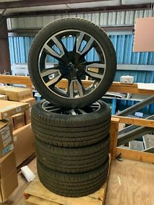 22 Tahoe 1500 Truck Black Wheels Rims Tires Factory Oem 2018 Bridgestone