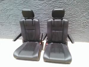 Black Leather 4 Bucket Seats 2 Pairs Van Bus Hotrod Vanagon Humvee Jeep