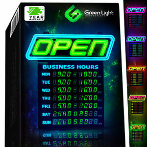 Led Open Sign With Business Hours Stand Out With 1000 s Color Combos To Match