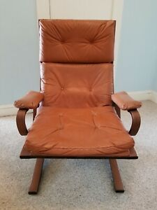 Vintage Eames Style Leather Wood Lounge Chair Ottoman 1960s 200