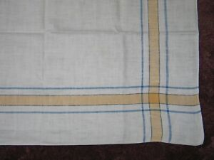 Antique Tablecloth Stripes Plaid Vintage Linen Woven Blue Yellow Stripe