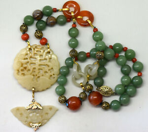 Antique Chinese 14k Solid Gold Silver Coral Carnelian And Jade Necklace
