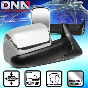For 1994 2002 Dodge Ram Truck Pair Manual Side Door Towing Mirror Chrome Cover