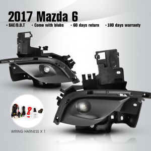 Fits 2017 Mazda 6 Fog Lights Led Clear Lamps Pair Wiring Kit Switch Replacement