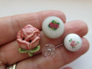 Beautiful Lot Of 4 Antique Vtg Rose Buttons Victorian Glass Swirl Back A
