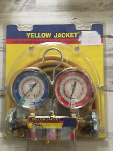 Yellow Jacket 42004 Series 41 Manifold 3 1 8 Gauges W Hoses R22 404a 410a