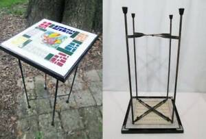 Vintage Mid Century Wrought Iron Table Plant Stand Ceramic Tile Top Collapsible