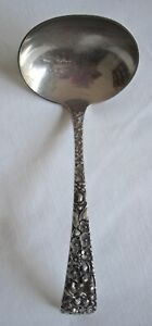 Kirk Stieff Sterling Repousse Silver Rose Gravy Cream Sauce Ladle 6 1 4