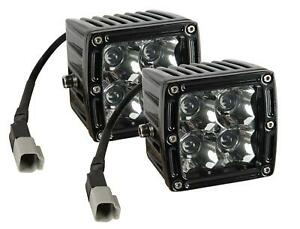 Summit Racing Off Road Led 3 X 3 Auxiliary Lights 890250 Pair With Harness