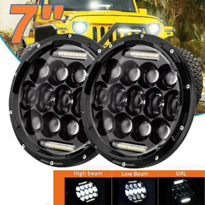 1pair 7 Inch Round Led Headlights Halo Angle Eyes For Jeep Wrangler Jk Lj Tj Cj