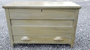 Antique Green Painted Small Blanket Chest W Drawers Hope Chest Carved Handles