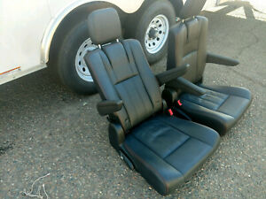 Black Leather 2 Bucket Seats Van Bus Hotrod Vanagon Humvee Red Stitched