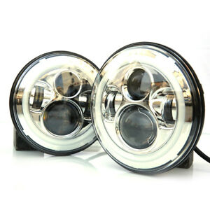 2x 7inch 90w Round Angel Eyes Led Headlights For Jeep Wrangler Jk tj cj Chrome