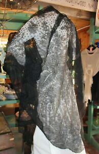 Antique Black Lace Shawl Scarf Wrap Belgian Netting French 12 Feet Long