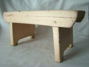 Charming Old Primitive Hand Made Footstool Bench Original Old Pink Paint 2
