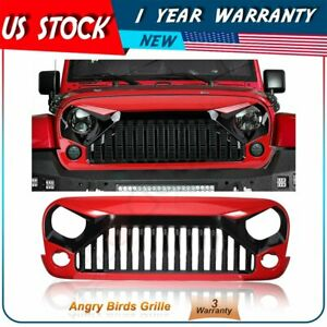 For 07 18 Jeep Wrangler Jk Grill Front Grille Angry Bird Gladiator Red Black