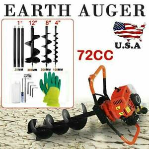 72cc 4hp Post Hole Digger Power Engine Gas Powered W 3 Auger Bits 4 8 12 Usa