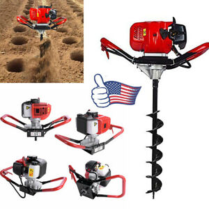 2 Stroke 52cc Gas Power Earth Post Hole Auger Head Digger One Man Us Seller