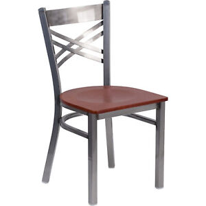 Clear Coatedxback Metal Restaurant Chair Cherry Wood Seat 500 lb Cap