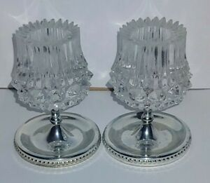 Excellent Pair Of Vintage Crystal Silver Plated Candle Holders Elegant