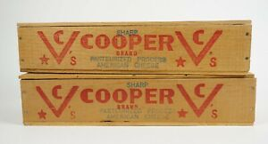 Lot X2 Vintage Cooper Brand Cheese Wooden Wood Boxes Pope Sons Rustic Decor C