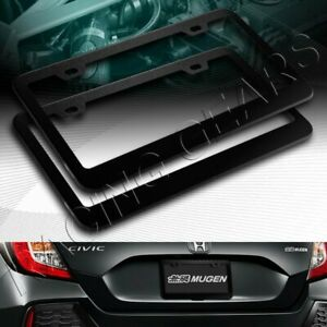 2 X Car Auto Metal License Plate Frame Holder Black Aluminum Alloy Front Rear