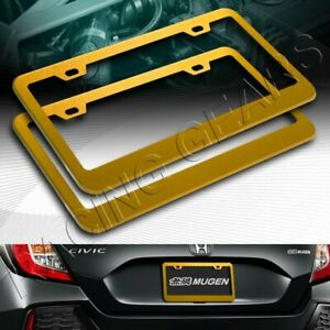 2pc Gold Aluminum Alloy Metal License Plate Frame Holder Cover Front