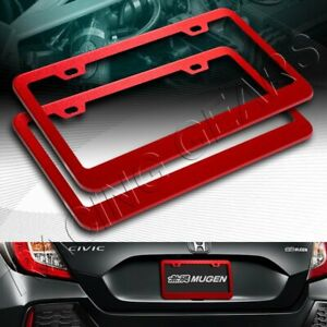 2pc Red Aluminum Alloy Metal License Plate Frame Holder Cover Front Rear