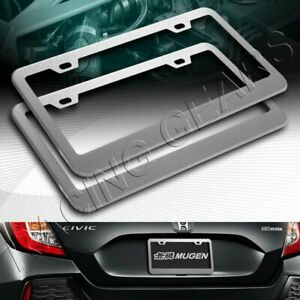 2 X Car Auto Metal License Plate Frame Holder Silver Aluminum Alloy Front Rear