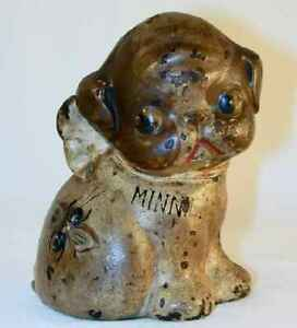 Antique Cast Iron Still Bank Puppy With Bug On Back Puppo Minnie By Hubley