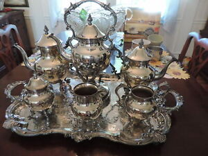 Plated Silver Over Copper 8 Piece Teapot Set Large Waiter Tray Largeset